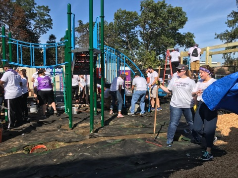 Today more than 200 Bostonians and UnitedHealthcare employees joined the New England Patriots and KaBOOM! to build a new playground at the Bridge Boston Charter School. The new play space, which was designed by the school's students and staff, will give the more than 250 kids a place to engage in safe and healthy activities (Photo: UnitedHealthcare).