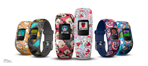 The Garmin vívofit jr. 2 activity tracker for kids features Disney, Star Wars and Marvel-themed band ...