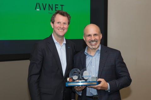 Amphenol CEO R. Adam Norwitt (left) and Avnet CEO Bill Amelio (right) celebrate 60-year tradition of ...