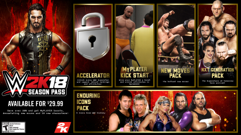 2K today announced details surrounding the Season Pass and downloadable content offerings for WWE® 2K18, the forthcoming release in the flagship WWE video game franchise. (Photo: Business Wire)