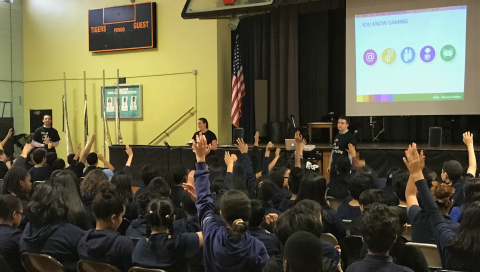 JPMorgan Chase cybersecurity team teaches middle school students to be Safe and Secure Online (Photo: Business Wire)