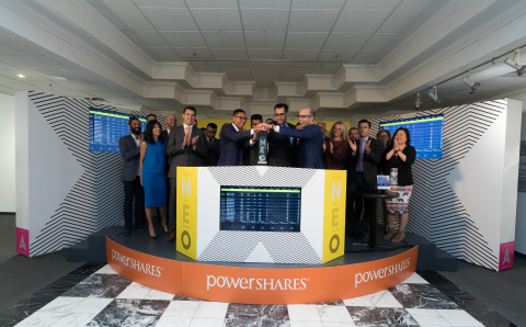 """Invesco Canada Ltd. (""""Invesco""""), including PowerShares Canada Vice President of Product and Business Development, Christopher Doll, joined Erik Sloane, Head of Business Development, Funds at NEO, Aequitas NEO Exchange Inc. (""""NEO Exchange""""), to open the market in celebration of the new PowerShares 1-10 Year Laddered Investment Grade Corporate Bond Index exchange-traded-fund (ETF), represented by the ticker PIB, launching on the NEO Exchange. PowerShares ETFs seek to outperform traditional benchmark indexes while providing advisors and investors access to an innovative array of focused investment opportunities. The new PowerShares ETFs commenced trading on the NEO Exchange on September 12, 2017. (Photo: Business Wire)"""
