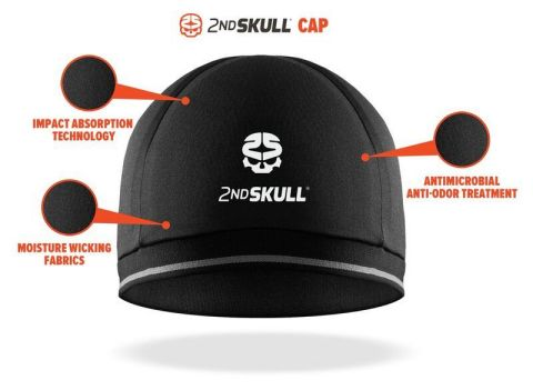 Manufactured in the U.S., the skull cap is a compressive, antimicrobial cap with an extra thin layer of XRD® Technology, an extreme energy absorbing material. This material is made with special urethane molecules that are soft and flexible at rest and then momentarily harden under sudden pressure. (Photo: Business Wire)