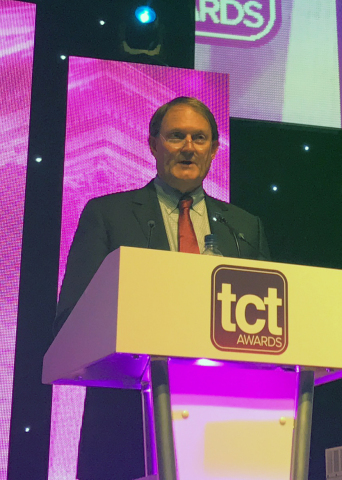 Inducted into the TCT Hall of Fame: Scott Crump accepts award during the ceremony. Crump is the inve ...