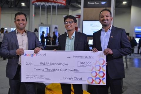 SAP + Google Cloud Intelligent App Challenge First Place Winner: VASPP Technologies, Inc. Left to Right: Nithin Simakurti - CEO, Vaibav Surana - Technical Architect, Keshava Aswath - Vice President (Photo: Business Wire)