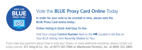 Vote the BLUE Proxy Card Online Today. (Graphic: Business Wire)