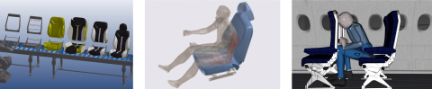 Seat manufacturing (left), thermal comfort on a heated seat (middle), and HIC testing (right), performed virtually with ESI Virtual Seat Solution (Graphic: ESI Group)