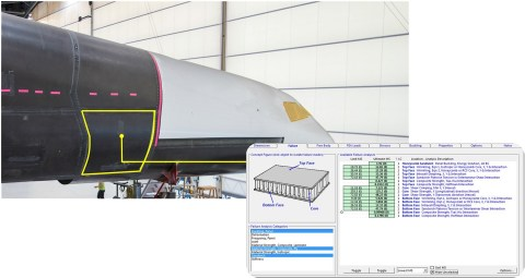 Early construction phase of one of the two fuselages of the all-composite Stratolaunch aircraft and (inset) a screenshot showing a HyperSizer analysis of the structure. Images courtesy Stratolaunch Systems Corp.