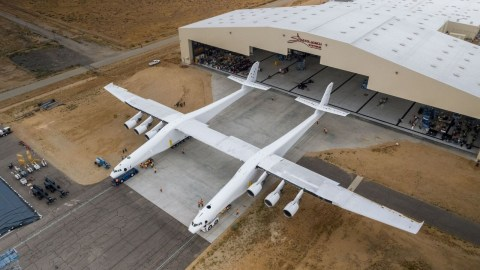 Stratolaunch aircraft rolling out of the hangar in spring 2017. Image courtesy Stratolaunch Systems Corp.