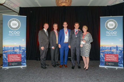 Pictured (l-r) Celestica V.P. Dave Clark and Avnet's Pete Zimmer, V.P., global and strategic accounts; Dan Sav, account manager; Peter Hanko, regional account manager and Cheli Seddon, director, global business management (Photo: Business Wire)