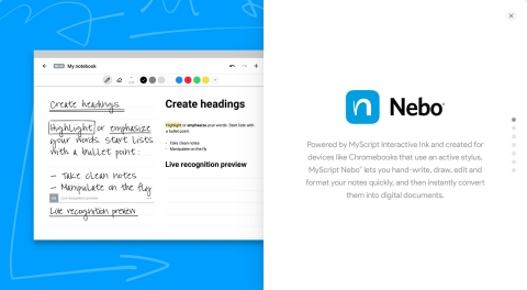 Nebo is the first application of its kind that combines the benefits of handwriting with the power, ...