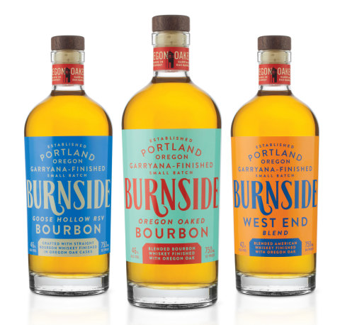 Burnside's flagship product - Oregon Oaked Bourbon - takes its color inspiration from one of two towers that sits at either end of the Burnside Bridge. Special products from Burnside honor the neighborhoods that Burnside Street passes, including West End and Goose Hollow. (Photo: Business Wire)