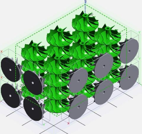 Nested turbine impellers, ready for printing (Photo: Business Wire)