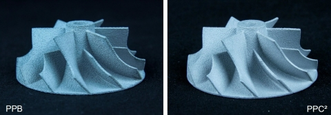 Casted impeller comparison of PolyPor B (PPB) and PolyPor C² (PPC²) (Photo: Business Wire)