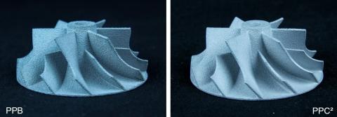 PolyPor B(PPB)で鋳造されたインペラーとPolyPor C²(PPC²)で鋳造されたインペラーの比較(写真:ビジネスワイヤ)