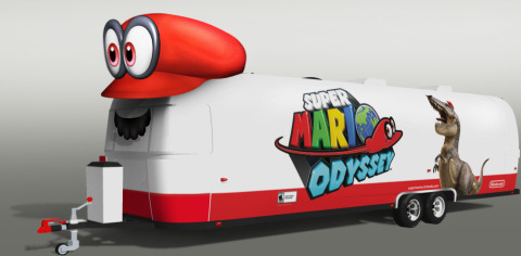Mario will travel in style in a custom trailer featuring Super Mario Odyssey artwork, including a giant inflatable Cappy! (Photo: Business Wire)