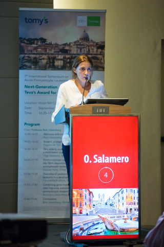 Dr. Olga Salamero presenting her research during the Next-Generation APL Leaders Teva's Award for Yo ...