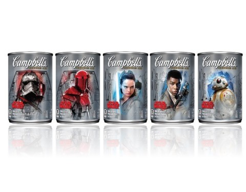Campbell Soup Company (NYSE:CPB) has collaborated with Disney and Lucasfilm to launch a new series of Star Wars themed soup labels. The new labels of Campbell's Limited-Edition Star Wars soups feature characters from Star Wars: The Last Jedi  and includes Rey, Finn, BB-8, Captain Phasma and the Praetorian Guard. (Photo: Business Wire)