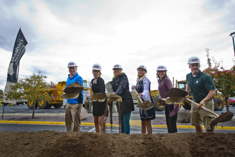 The Nelson family breaks ground on Kalahari Resorts and Conventions in Wisconsin Dells on Oct. 5, 2017 for the 112,000-sq-ft. expansion that will include a 52,000-sq-ft. ballroom and ten additional meeting rooms. The expansion is slated to open Sept. 2019. From Left: Travis Nelson, Ashley Nelson, Shari Nelson, Natasha Lucke, Alissa Gander and Todd Nelson Jr. (Photo: Business Wire)