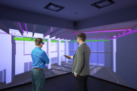 Suffolk's Virtual Reality CAVE showcases the future of construction by immersing users in sophisticated virtual models. (Photo courtesy of photographer J. Michael Worthington, Jr.)