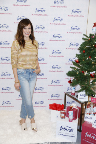 In celebration of the upcoming holiday season, Febreze has partnered with Emmy-nominated actress, Kathryn Hahn, to share #LiveNaughtySmellNice hacks on Thursday, Oct. 5, 2017 in Los Angeles. Febreze is offering a limited-edition Holiday collection so folks can fill their homes with the scents they're craving and eliminate the odors they're hating. (Photo by Matt Sayles/Invision for Febreze/AP Images)