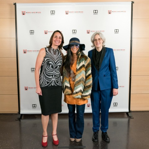 On Friday, October 6, 2017, Dolby Laboratories and Women's Audio Mission (WAM) hosted the WAM Amplifier Benefit at Dolby Laboratories in San Francisco, CA. The sold-out event, featuring a performance by Sheila E. in the Dolby Cinema for over 200 guests, was led by Terri Winston, executive director, Women's Audio Mission, Joan Scott, director of community relations, Dolby Laboratories and honorary co-chairs Natasha and David Dolby (not pictured). From donating venues to providing opportunities, Dolby backs WAM's goals. Read more at https://hub.dolby.com/womens-audio-mission-amplifies-female-voices-support-dolby/ DLB-G (Photo: Business Wire)