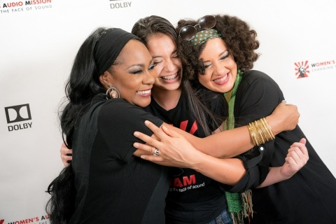 On Friday, October 6, 2017, Dolby Laboratories and Women's Audio Mission (WAM) hosted the WAM Amplifier Benefit featuring a sold-out performance by Sheila E. in the Dolby Cinema at 1275 Market. Sheila E. singers Rebecca Jade and Lynn Mabry met with WAM student and aspiring singer Sofia Rivera after the show. (Photo: Business Wire)