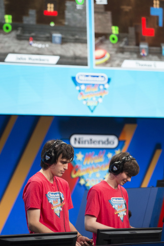 In this photo provided by Nintendo of America, finalists John Numbers and Thomas Gonda face off over upcoming Nintendo Switch game Super Mario Odyssey in the ultimate battle of the Nintendo World Championship 2017 at the Manhattan Center in New York, NY. (Photo: Business Wire)