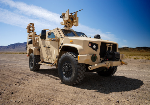 JLTV equipped with Boeing Compact Laser Weapon System (CLWS), a Kongsberg Protector LW 30 Remote Weapon System (RWS) with a M230LF cannon, and a communications suite that includes a Thales VRC-111 and Thales VRC-121 VIPER (Photo: Business Wire)