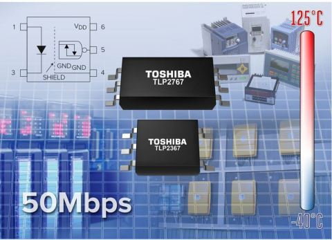 Toshiba's new high-speed photocouplers contribute to lowering the operation voltage of equipment with supply voltage of 2.7V to 5.5V, at temperatures up to 125°C. (Graphic: Business Wire)