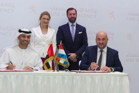 The Government of the Grand Duchy of Luxembourg, represented by the Deputy Prime Minister, Minister of the Economy, Étienne Schneider, and the UAE, represented by the Minister of State for Higher Education and Chairman of the UAE Space Agency, Dr. Ahmad Belhoul Al Falasi, signed in Abu Dhabi a memorandum of understanding (MoU) to start bilateral cooperation on space activities with particular focus on the exploration and utilization of space resources. (Photo: Business Wire)