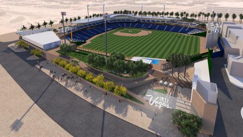 Las Vegas Ballpark, Concept Rendering of Northeast View photo by HOK