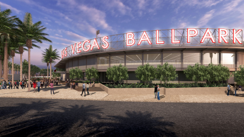 Las Vegas Ballpark, Concept Rendering of Southwest Corner View photo by HOK