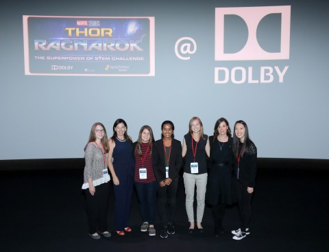 Dolby Laboratories hosts the finalists of the Marvel Studios' Superpower of Stem Challenge. (L-R) Kate Stack, Jennifer Bowcock, Vice President Dolby Laboratories, Stephanie Walsh, Divya Amirtharaj, Jillian Eddy, Poppy Crum, Chief Scientist, Dolby Laboratories, and Anna Zhang. For several years, Dolby has collaborated with Marvel Studios to encourage young girls to discover the magic of science and technology. Photo: Craig T. Mathew/Mathew Imaging.