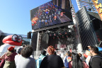 """In this photo provided by Nintendo of America, fans watch the world premiere of the """"Jump Up, Super Star! – Super Mario Odyssey Musical"""" video, featuring a jazz-themed song from the game. Fans gathered at Universal CityWalk in Los Angeles to celebrate the launch of the Super Mario Odyssey Tour, which will take Mario to five special stops across the country, ending in New York on Oct. 26, the eve of the game's launch exclusively for the Nintendo Switch system. (Photo: Nintendo of America)"""