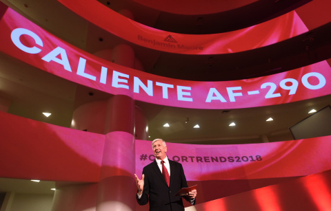 Carl Minchew, VP Color Innovation & Design at Benjamin Moore, announces Caliente AF-290 as the highly anticipated Color of the Year 2018 at the Solomon R. Guggenheim Museum, Tuesday, Oct. 10, 2017. (Photo: Business Wire)