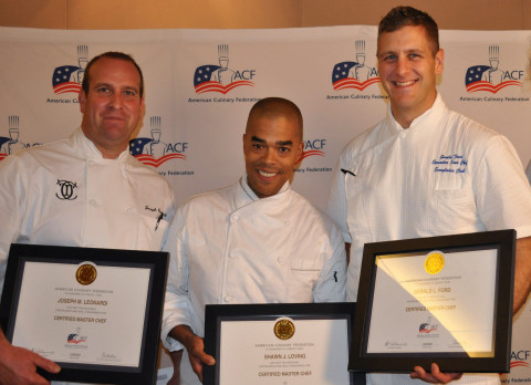 Chefs Joseph Leonardi, Shawn Loving, and Gerald Ford received the Certified Master Chef® designation ...