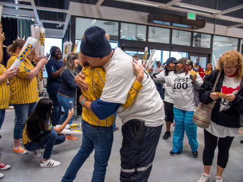 IKEA Fishers' first customer hugs Holly Davidson, store manager, in celebration of the store's Grand Opening today. (Photo: Business Wire)