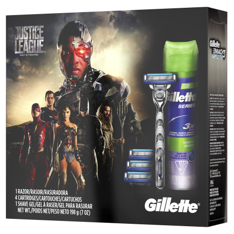 "Gillette unveils six special edition gift packs as part of its partnership with Warner Bros. Pictures' upcoming film ""Justice League."" (Photo: Business Wire)"