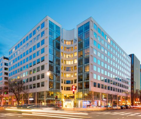 """1800 M Street in Washington, D.C.'s famed """"Golden Triangle"""" central business district was purchased for $421 million by the joint venture between Columbia Property Trust and Allianz Real Estate; it is now the fourth Class-A office asset owned by the venture. Photo credit: Nicholas Waring"""
