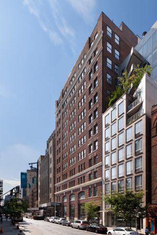 Columbia Property Trust has acquired two Midtown South office assets from New York REIT for $514 million, including 218 West 18th Street (pictured), which houses Red Bull's New York headquarters, and 245-249 West 17th Street. (Photo: Business Wire)