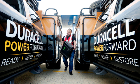 Lloyd Ziel, Director of Communications for the Red Cross (NH & VT), helps Duracell PowerForward load thousands of batteries into their disaster relief vehicles in Portsmouth, NH. Duracell PowerForward is deploying to Puerto Rico to distribute more than $1 million worth of batteries, making this the program's largest deployment since the initiative began in 2011. (Photo: Business Wire)