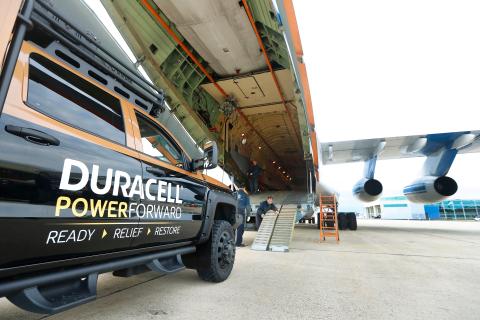 Los miembros del equipo Duracell PowerForward cargan miles de baterías en sus vehículos de ayuda para situaciones de desastre en Portsmouth, NH. Duracell PowerForward está entregando baterías a Puerto Rico para su distribución por un valor superior a 1 millón de USD, haciendo que esta sea la mayor entrega del programa desde que la iniciativa se inició en 2011. (Foto: Business Wire)