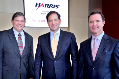 (R-to-L) Harris Chairman, President and CEO William M. Brown, U.S. Senator Marco Rubio (R-FL), and Harris Space and Intelligence Systems segment President Bill Gattle at the Harris Technology Center in Palm Bay, Florida. (Photo: Business Wire)