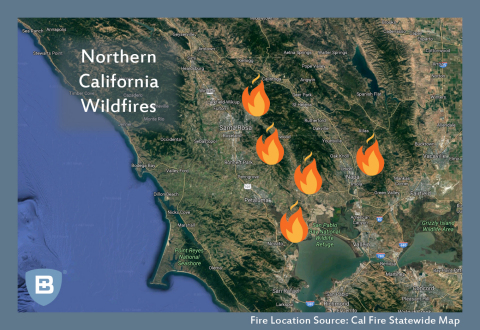 Map of Northern California Wildfire Locations (Photo: Business Wire)