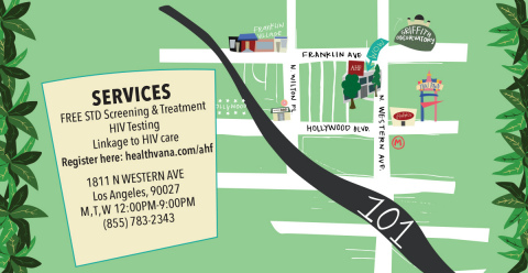 AHF will host a grand opening ceremony on October 17th for its new Western Wellness Center in Hollywood that will offer free screenings for STDs and HIV. (Graphic: Business Wire)