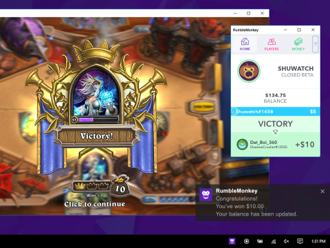 This image shows RumbleMonkey's user interface running alongside Blizzard's online card game Hearths ...