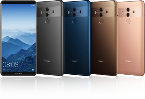 The HUAWEI Mate 10 Pro comes in four colors (Photo: Business Wire)