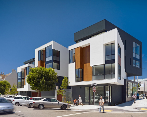 Mixed use building on California Street, San Francisco Building designed by Kennerly Architecture &  ...