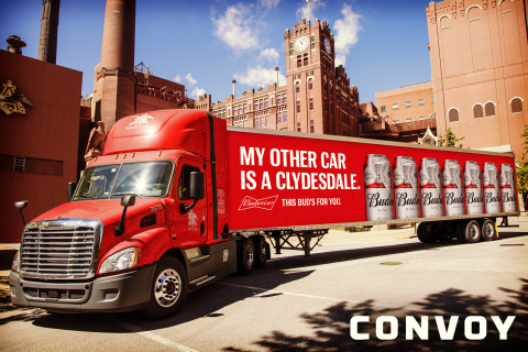 Budweiser producer Anheuser-Busch will use Convoy's tech-enabled network to transport truckloads like these from its facilities (Photo: Business Wire)